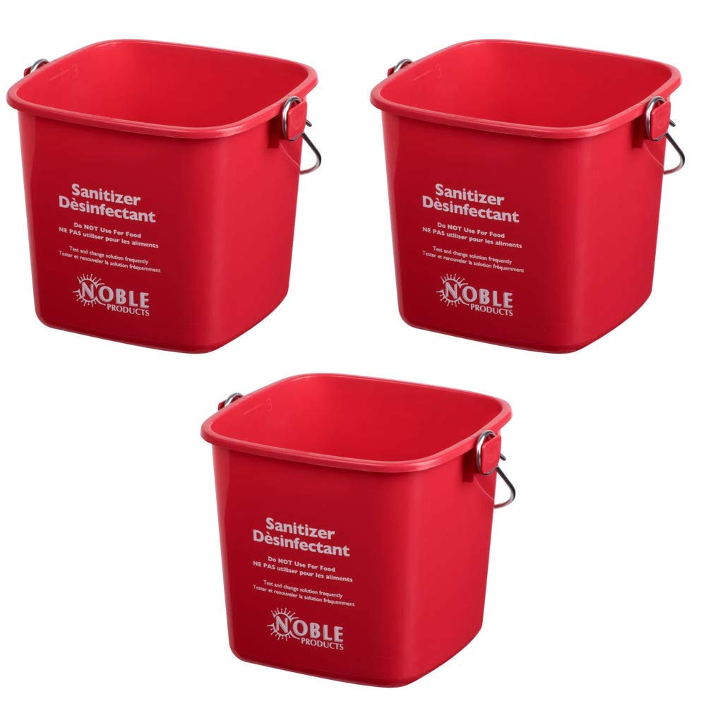 Red Small Sanitizing Buckets for Cleaning -3 Quart Sanitizing Cleaning Pail - Set of 3 Square Sanitizing Plastic Bucket