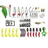 Bluenet Fishing Utility Tackle Box Tools Combo Kit with Jig Baits Soft Lures Set Hard Lures Minnow Popper Crank- 100pcs Set