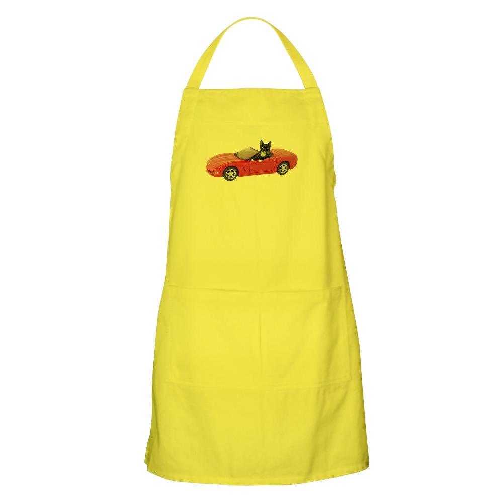 CafePress – Cat inレッド車エプロン – キッチンエプロンポケット付き、グリルエプロン、Bakingエプロン イエロー 062556574829A30  レモン B073X2TRTM
