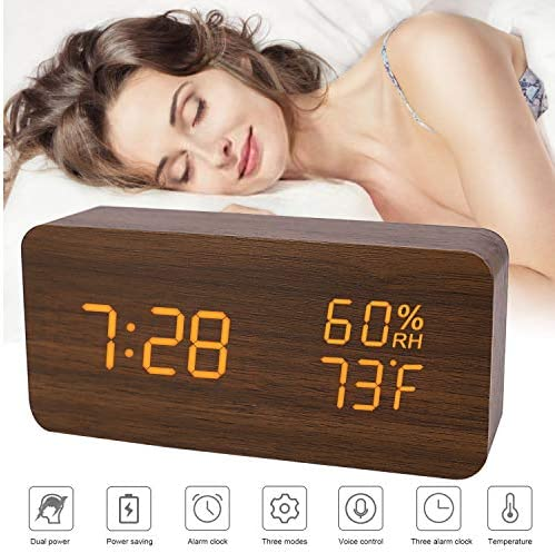 BESWORLDS Digital Alarm Clock, LED Adjustable Brightness Voice Control Desk Wood Alarm Clock