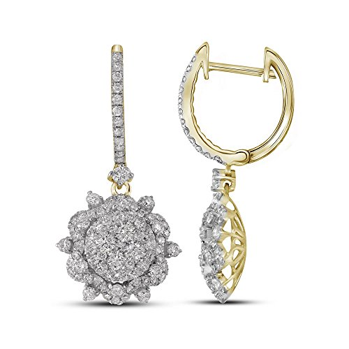 Roy Rose Jewelry 14K Yellow Gold Ladies Diamond Starburst Cluster Dangle Hoop Earrings 2-1/4 Carat tw (Starburst 14k Yellow Gold)