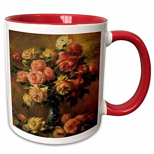 Renoir Auguste Roses Pierre - 3dRose BLN Flower Paintings Fine Art Collection - Les Roses dans un Vase by Pierre-Auguste Renoir Flower Still Life - 15oz Two-Tone Red Mug (mug_126509_10)