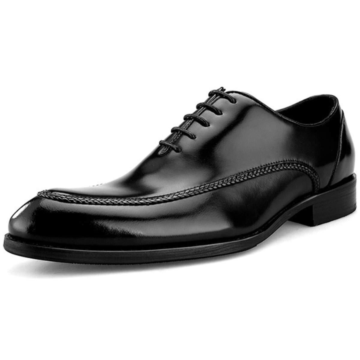 schwarz XWQYY Herren Lederschuhe Britisches Leder Handmade Nähgarn Schuhe Fashion Dress Business Pointy Schuhe,Browm-43EU
