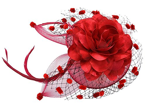 Flapper Hat In Red (Coolwife Womens Fascinator Veil Flower Cocktail Tea Party Headwear (Red))