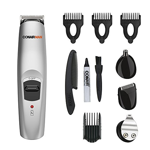 Conair Man All-in-1 Trimmer; Beard and Mustache Trimming System with Self-Sharpening Stainless Steel Blades; Rechargeable (packaging may (Conair Grooming Kit)