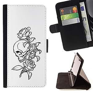 Momo Phone Case / Flip Funda de Cuero Case Cover - Floral del cráneo de Rose B & W - Sony Xperia M5