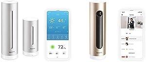 Netatmo Weather Station Indoor Outdoor with Wireless Outdoor Sensor - Compatible with Amazon Alexa & Door Security Camera - Netatmo Welcome, Gold