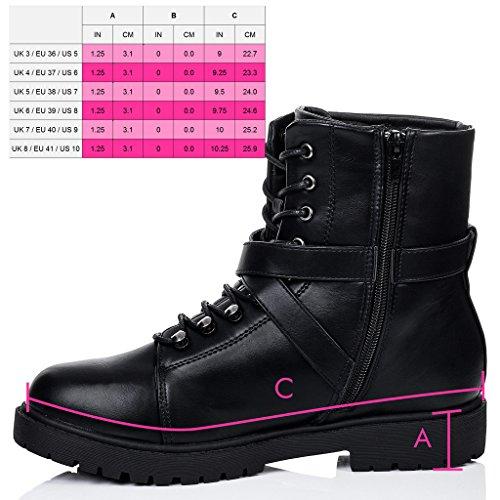 SPYLOVEBUY DICE Mujer Cordone Planos Botes Bajas Zapatos Negro - Cuero Sintético