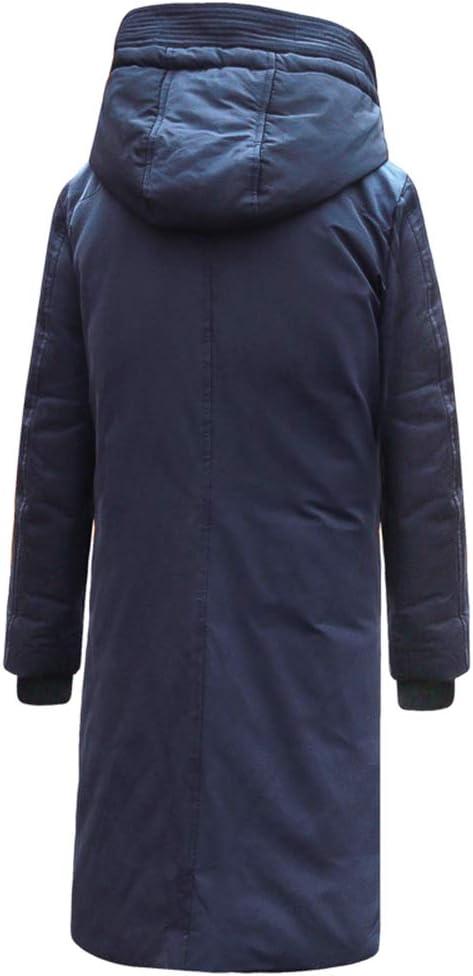 Lhlxs Hommes Long Down Jacket Chaud Mode Capuche Hiver Gros Canard Vêtements Manteau de Duvet Blue