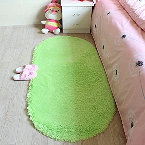 Wolala Home™ Modern Super Cozy Fluffy Rug Washable Non-slip Oval Area Rug Durable Solid Floor Rug Livingroom Carpet Bedroom Room Carpet (Light green, (Blue And Green Bedroom Rugs)