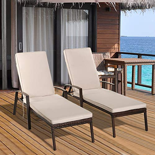 Tangkula Set of 2 Patio Furniture Outdoor Rattan Wicker Lounge Chair Set Adjustable Poolside Chaise with Armrest and Removable Cushions (Outdoor Lounge Brown Chairs)