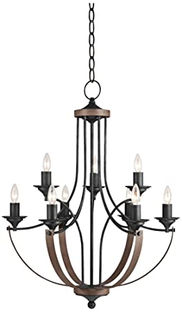 Progress Lighting P4603-20 9-Light Two-Tier Pavilion Chandelier, Antique Bronze