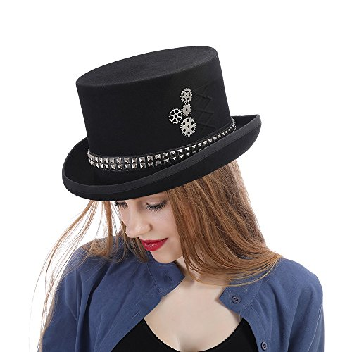 LFLING Woolen Top Hat Women Men Unisex Steampunk Hat Steam Punk Fedoras Top Hat Topper by LFLING (Image #1)