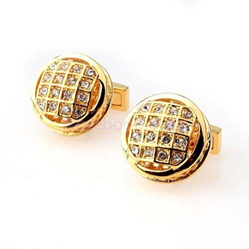 Novelty Copper Plating Round Cufflinks Cuff Links Wedding Prom Gold Diamante - Edge Round Cufflinks