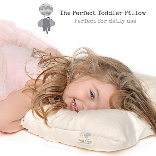 100% ORGANIC Cotton Toddler Pillow HYPOALLERGENIC & WASHABLE made in USA - Unisex kids pillow - 13X18 (No pillowcase needed)