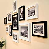 Photo Frame Set - 11 Frames - With Picture Mounts- 135x70cm- Frame Width 2cm - Black by PRINTELLIGENT