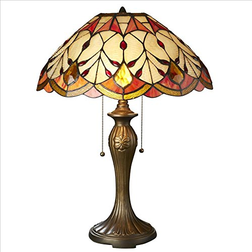 Design Toscano TF85002 Art Nouveau Flowing Buds Tiffany-Style Stained Glass Table Lamp Art Nouveau Desk