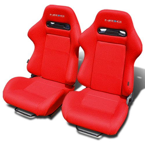 NRG RSC-210-NRG Type-R Red Cloth Sport Seats With Red Stich & NRG Logo Set of 2 (Left & Right)