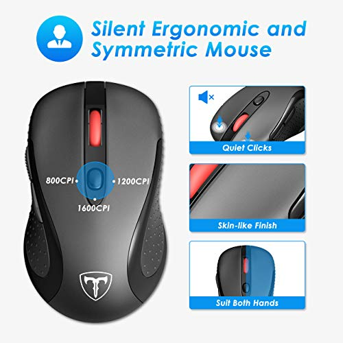 VicTsing Wireless Mouse and Keyboard Combo [Fatigue Reliever], 104-Key Wireless Keyboard with Palm Rest and Cordless Mouse, 2.4GHz Plug and Play Connection, Black