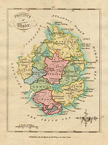 Amazon Com Province Of Ulster Antique Copperplate Map By Scale