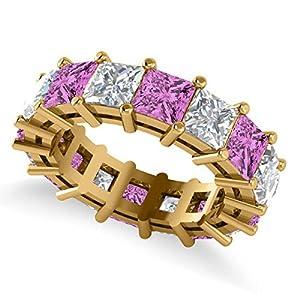 14k Gold (10.08ct) Princess Cut Diamond and Pink Sapphire Eternity Wedding Band