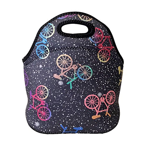ALLYDREW Insulated Neoprene Lunch Bag Zipper Lunch Box Tote Baby Bottle Bag, Bicycles (Tote Bicycle)