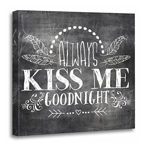 TORASS Canvas Wall Art Print Chalk Chalkboard Always Kiss Me