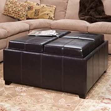 Great Deal Furniture 281870ESP Harley Four Sectioned Espresso Leather Cube Storage Ottoman,