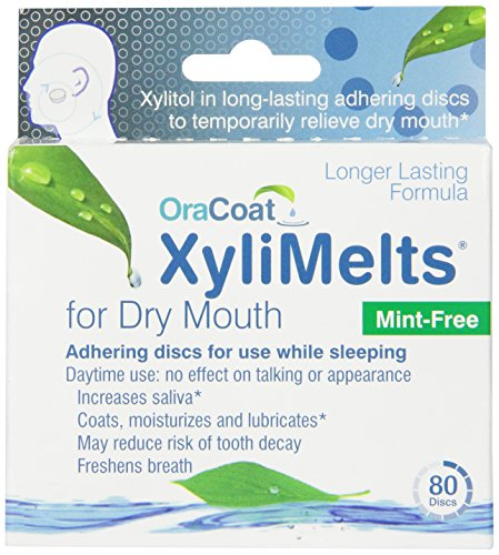 XyliMelts for Dry Mouth, Mint-Free, 80-Count Box by Orahealth