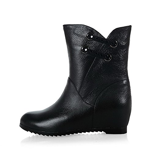 AmoonyFashion Womens Round-Toe Closed-Toe Low-Heels Boots With Thread and Glass Diamond Black E0A7uP