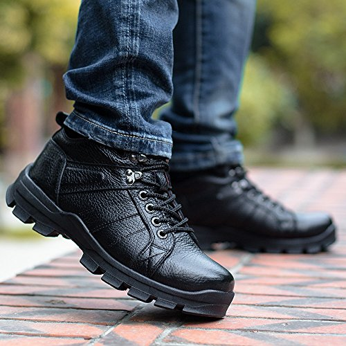 EnllerviiD Mens Winter Leather High Top Snow Boots Fur Lined Outdoor Shoes Wide Working Booties 860 Black Fur Lined bJ0p83