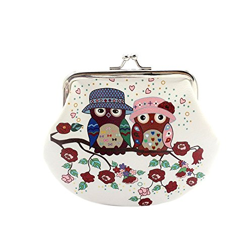 HYSGM Women Lady Retro Vintage Owl Print PU Leather Small Wallet Hasp Purse Clutch Bag (C)