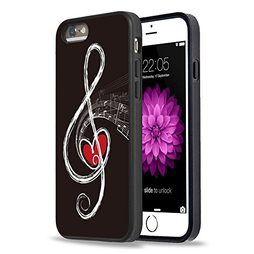 iPhone 5S Case Apple 5/5s Black Cover TPU Rubber Gel - Red Heart and Music (Red Music Note)