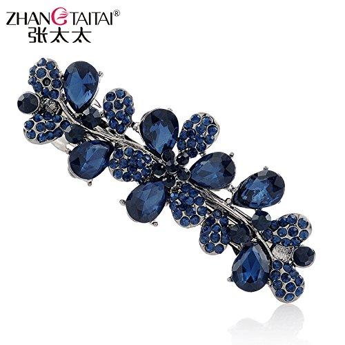 mrs. Chang Classical Rhinestone Hair Accessories Hairpin Hair pin Comb Claw no. Collet Chuck Head Ornaments Flower Clip 159 (Blue ()
