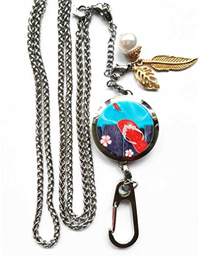 Flops Necklace Pendant - RhyNSky Flip Flop Flops - Sandal Aromatherapy Essential Oil Diffuser Locket Pendant ID Badge Holder Lanyard Necklace Bracelet Keychain with Chain and Pads, C5