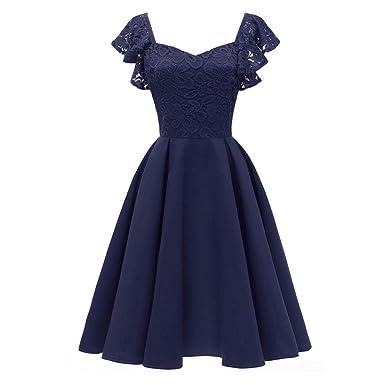 15d83bd99c13 Kleid Damen Kolylong Frauen Elegant V-Ausschnitt Spitze Ärmellose ...