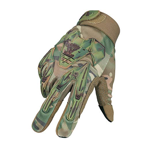 Mechanic Gloves Extra Grip Synthetic Mountain/Dirt Bike Glove with Impact Protective Big Gel Back and Hyflex Touch screen Fingertips for Men and Women Camo Medium
