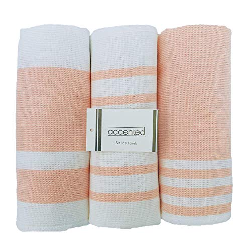 Accented Kitchen Towels, Set of 3 - Thick, Fast Drying, Absorbent Tea Towels - Turkish Cotton Dish Towel Set with Hanging Loop - (26 x 19 inches) (Coral Pink)