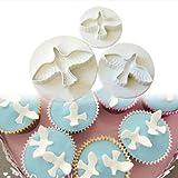3PCS Pigeon Fondant Cake Cookies Paste Sugarcraft Plunger Cutter Decorating Mold