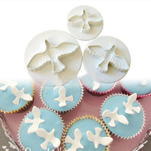 3PCS Pigeon Fondant Cake Cookies Paste Sugarcraft Plunger Cutter Decorating Mold