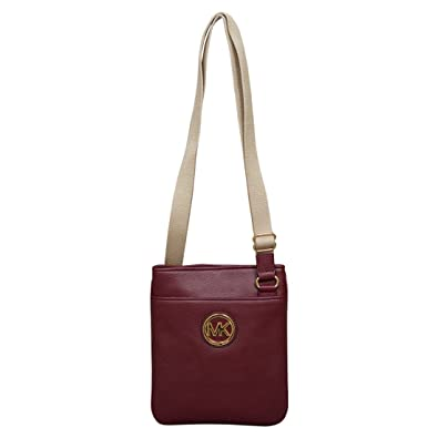 2f226a13c8905 Image Unavailable. Image not available for. Color  Michael Kors Fulton  Pebble Leather Crossbody Claret