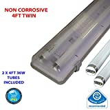4FT TWIN 36 WATT NON CORROSIVE WEATHERPROOF FLUORESCENT LIGHT FITTING (INCLUDES TUBES) - IP65 - WEATHERPROOF OUTDOOR STRIP LIGHT - IDEAL FOR GARAGES, WORKSHOP, SHEDS, GREENHOUSES OR COMMERCIAL APPLICATIONS - STURDY CONSTRUCTION - POLYCARBONATE DIFFUSER - HIGH FREQUENCY TRIDONIC CONTROL GEAR - BRANDED - 2 YEAR GUARANTEE