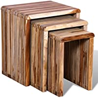 Festnight Set of 3 Wood Nesting Coffee Side Tables, Antique-style