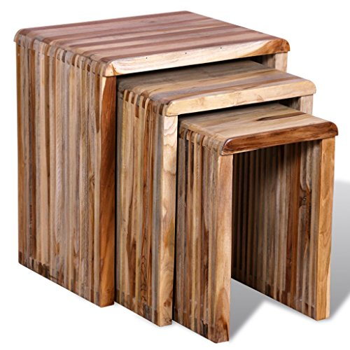 (Festnight Set of 3 Wood Coffee Table Nesting End Side Table Set Night Stand Corner Table Antique-Style Wooden Stackable Tables for Living Room Balcony Small Place Home Rustic)