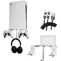 PS5 wandhouder 5 in 1 bundel plankset, afneembare controllerhouder met magnetische oplaadkabel en hoofdtelefoonhouder…