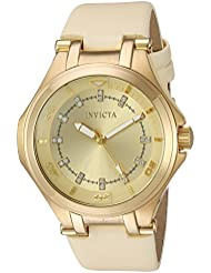 Invicta Womens Wildflower Quartz Stainless Steel Casual Watch, Color:Beige (Model: 21760)