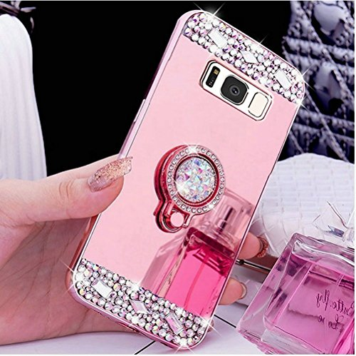 Price comparison product image Galaxy Note 8 Case,Inspirationc Crystal Rhinestone Mirror Glass Case Bling Diamond Soft Rubber Makeup Case for Samsung Galaxy Note 8 with Detachable 360 Degree Ring Stand--Rose Gold