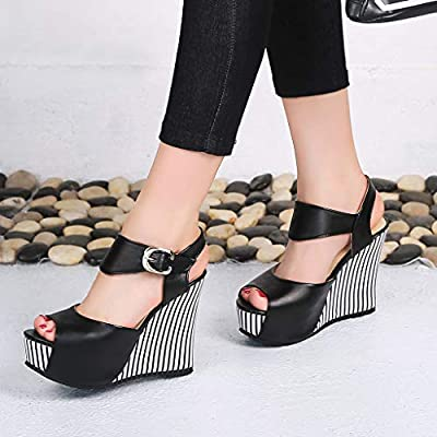 Sunhusing Wedge Sandals Women's Leather Heel Thick Bottom Platform Casual Open Toe Ankle Buckle Strap Sandals: Clothing