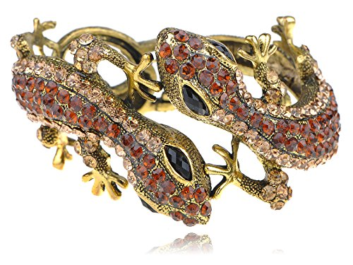 Alilang Womens Antique Golden Topaz Colored Rhinestones Lizard Gecko Cuff ()