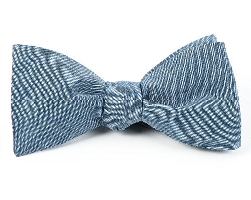 Free 100% Cotton Warm Blue Classic Chambray Self-Tie Bow Tie